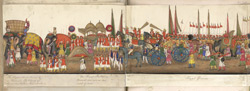A panorama in 12 folds showing the procession of the Emperor Bahadur Shah to celebrate the feast of the 'Id. f. 59v-C